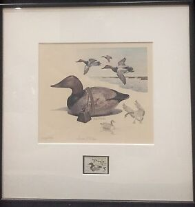 1975 JAMES FISHER  FEDERAL DUCK PRINT FRAMED WITH STAMP - Remarqued