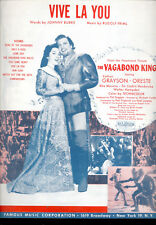 """VAGABOND KING Sheet Music """"Vive La You"""" Kathryn Grayson Oreste"""