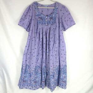 ONLY NECESSITIES Lounger House Dress 4X Purple Floral Print