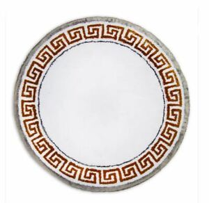 """Abyss Triomphe Round Bath Rug 35"""" Diameter ~White/Gold Made in Portugal ~NWT"""