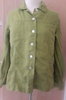 Chico's Designs Long Sleeve Lime Green Roll Tab Linen Blend Shirt S