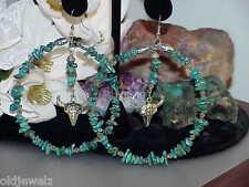 "Southwestern Dangle Earrings Turquoise Nugget Beaded Hoops Skull Huge Massive 5"""
