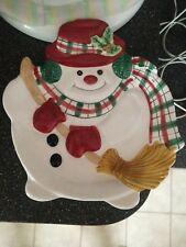 2001 Fitz And Floyd Essentials Plaid Christmas Canape Plate Candy Dish Platter
