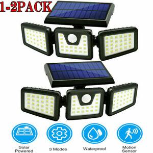 1-2 PACK Solar Lights Motion Sensor, Security LED Waterproof Adjustable head