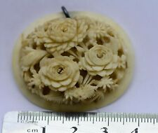 ANTIQUE CARVED FLOWERS DIEPPE PENDANT