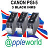 3 Canon PGI-5 BLACK Compatible Ink Cartridges [chipped]