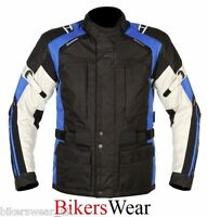 Akito Track Blue Waterproof Motorcycle Textile Jacket Knox Armour Size M-L