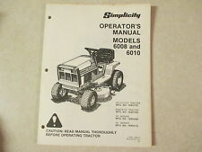 Simplicity 6010 6008 tractor owners & maintenance manual Model# 1690192 1690193