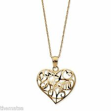 """MOM 10K GOLD HEART FILIGREE  PENDANT CHARM WITH 18"""" CHAIN"""