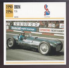 1950-1954 BRM V16 (T15) Formula 1 GP British Race Car Photo Spec Sheet Info CARD