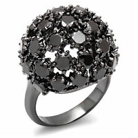 Ladies Jet Stones Tree TIN Cobalt Black Gold Plated Le Glace Dome Ring