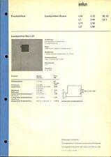 Braun Service Manual para l 01/l 1/11/12/40/50/60/rl 10 y le 1