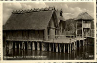 Unteruhldingen Bodensee Ansichtskarte ~1950/60 Pfahlbauten der Bronzezeit Turm