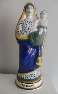 Statue Vierge Marie enfant Jésus faïence Quimper
