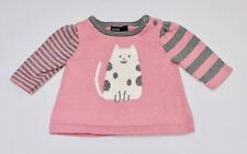 Baby Gap Spotted White Cat Striped Sleeve Muted Pink A-line Sweater Top, 0-3 mo.