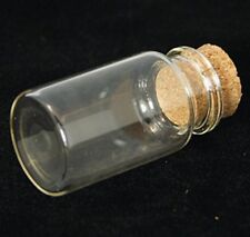 2 Glass 22x40mm Vial Bottles With Cork. Crafts Pendants Tiny Vase (a4)