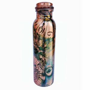 Pure Copper Metal Printed Art Water Bottle - Home Décor for Good Health #HDAU16