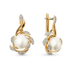 NEW Russian Earrings gold pearl Rose gold 14K 585 Russia diamond 8.1g USSR style