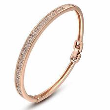 Women's Noble 18ct 18K Rose Gold Plated AAA Austrian Crystal Bangle Bracelet
