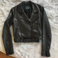 Veda Women's Classic Black Moto Leather Jacket Sz Small $598