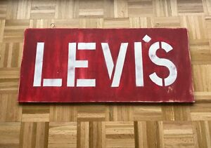 Vintage Wooden Levis Store Sign Advertising Double Sided Big E LVC RRL