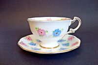 Made in England Bone China Tea Cup and Saucer - Blue/Pink/Gold Trim - (1420)