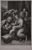 La sainte famille - Die heilige Famile - Raffael / Louvre - Radierung von Hermet