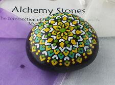 Hand Painted Alchemy Stone with Yellow, White & Green Geometric Mandala Design