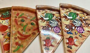 Lot Of 4 Vintage Anthropomorphic Pizza Slice Plates Deborah Mallow Veggies