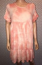 New With Tags Andrée By Unit Large Tie-Dye Coral Tunic Dress With Ruffles