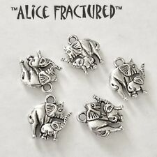 5 pieces Elephant & Baby 2 sided Dangle Charm Silver USA Seller 1280WL