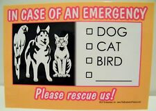 In Case of An Emergency Pet Sign Please Rescue Us Dog Cat Bird  Magnet New