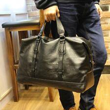 Mens PU Leather Holdall Duffle Gym Weekender Luggage Travel Large Shoulder Bag