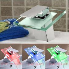 UK Bathroom Waterfall Basin Sink Tap LED Color Change Chrome Mixer Faucet