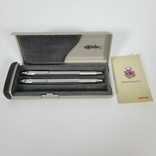 Rotring 600 Newton Silver Ballpoint blue Pen with metal mechanical pencil