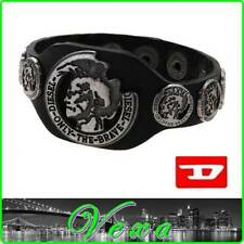 New DIESEL BRAVE Mens Genuine Leather Bracelet Black Bangle Wristband Surf BD47