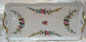 "VINTAGE Art Deco HAND PAINTED Summer Flowers Vanity Dresser Tray Dish 10.25"""