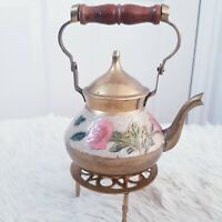 Vintage India Made Small Engraved Brass Teapot Kettle on 3 leg Stand Fireplace