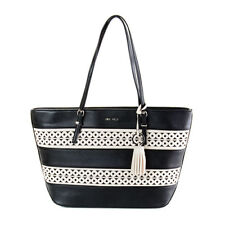 NWT Nine West It Girl Cut Out Large Shopper Tote Black Milk New SHIP INT'L