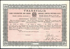 South Africa: Transvalia Land Exploration and Mining Co. Ltd., 25 shares, cir...