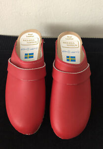 Moheda Toffeln Clogs Shoes Red leather Sz 36 New