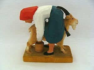 Henning Norway Woman Milking Goat Carved Wood Figurine