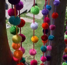Pom Pom Garland 5 Pack | Five Individual 1.5m/5ft Colourful Pom Pom Garlands