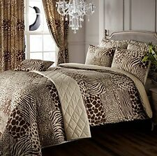 KING SIZE DESERT SAFARI ANIMAL  DUVET SET THROW CURTAINS CUSHION BED IN A BAG