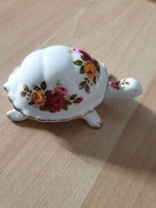 Vintage Cottage Rose Fine Bone China Tortoise/Turtle Lid Pill/Trinket Box
