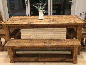 RUSTIC FARMHOUSE TABLE AND BENCHES - CHUNKY - SOLID - 6 FT / 6 FOOT LONG