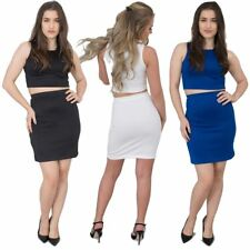Womens Ladies Crop Top and Skirt Set,  Two piece Bodycon Partywear Combo Dress.