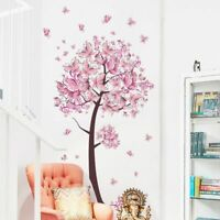Pink butterfly flower Tree Wall Stickers Decals Girls Women Flower Mural Vinyl