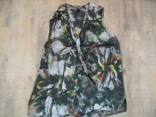ZERO ärmellose Cupro Bluse mit Schluppe grün Blumenmuster Gr. 34 TOP  e218