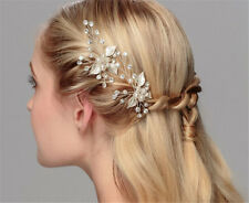 Crystal Hair Pins Pearls Bridal Hair Accessories Diamante Leaf Wedding Headdress
